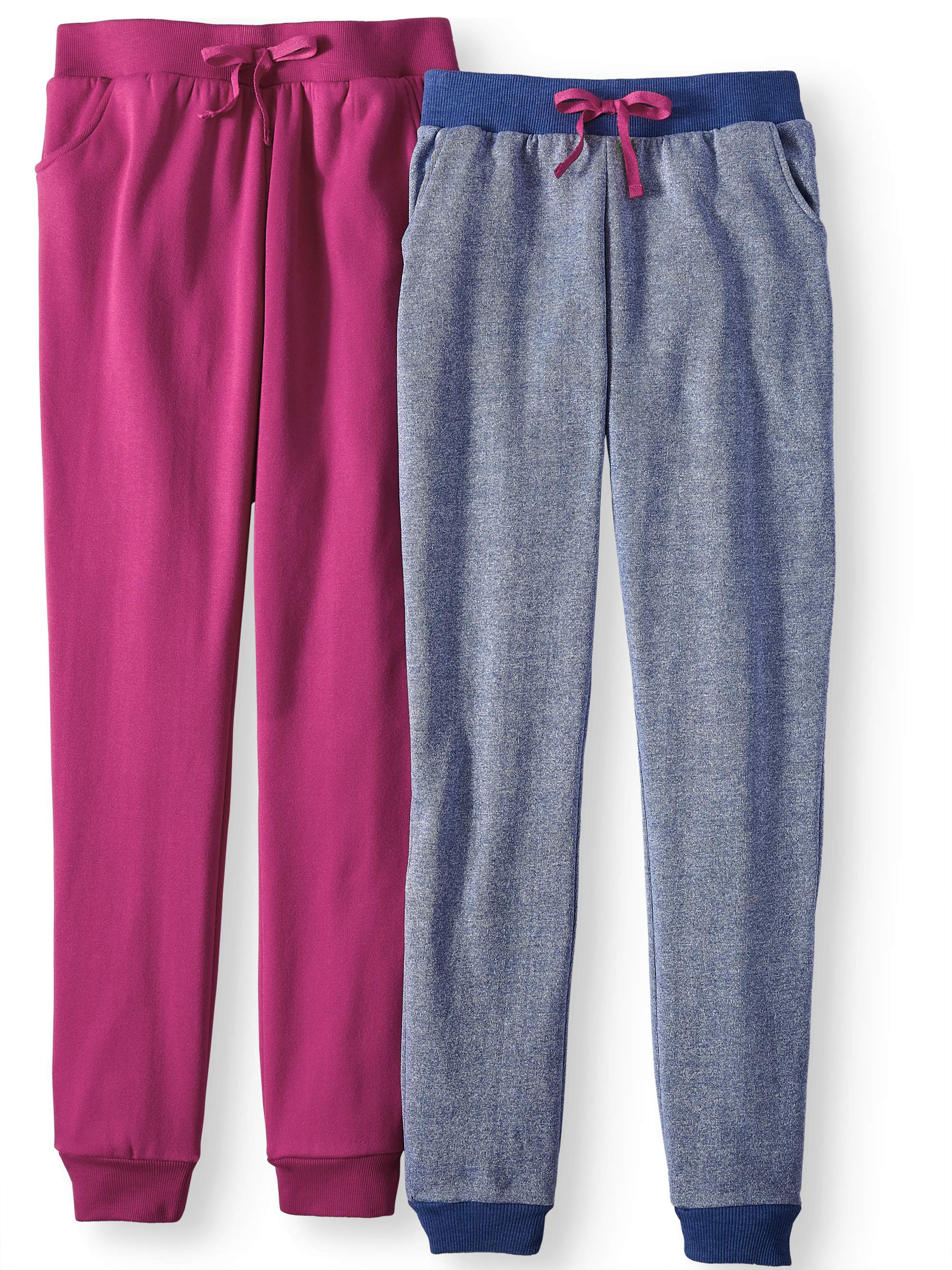 Solid and Marled Fleece Joggers, 2-Pack (Little Girls & Big Girls)