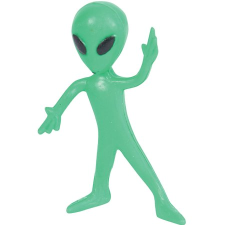 12 Green Bendable Classic Alien Toy Party Favor Gift Costume Accessory