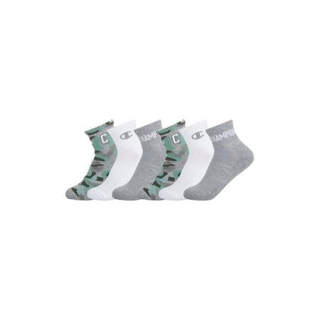 Champion Boys Socks, 6 Pack Camo Ankle Socks, Sizes M-L