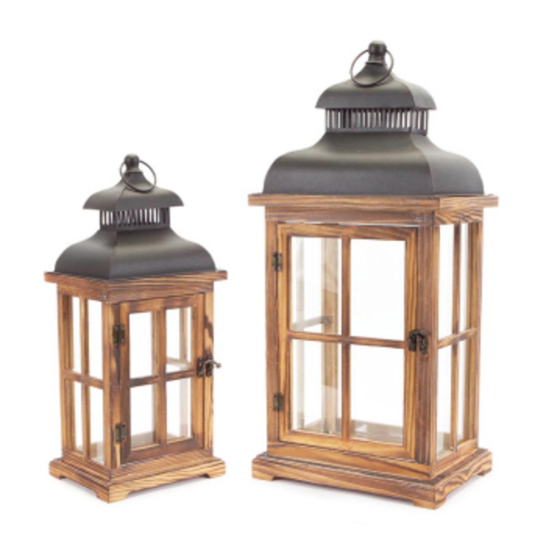"Set of 2 Vintage Natural and Black Distressed Pillar Candle Lanterns 23"""