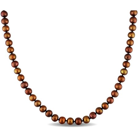 6-7mm Brown Cultured Freshwater Pearl Sterling Silver Strand Necklace, 18