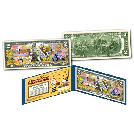 PEANUTS * A CHARLIE BROWN THANKSGIVING * Officially Licensed US Genuine $2 Bill - Peanuts Thanksgiving