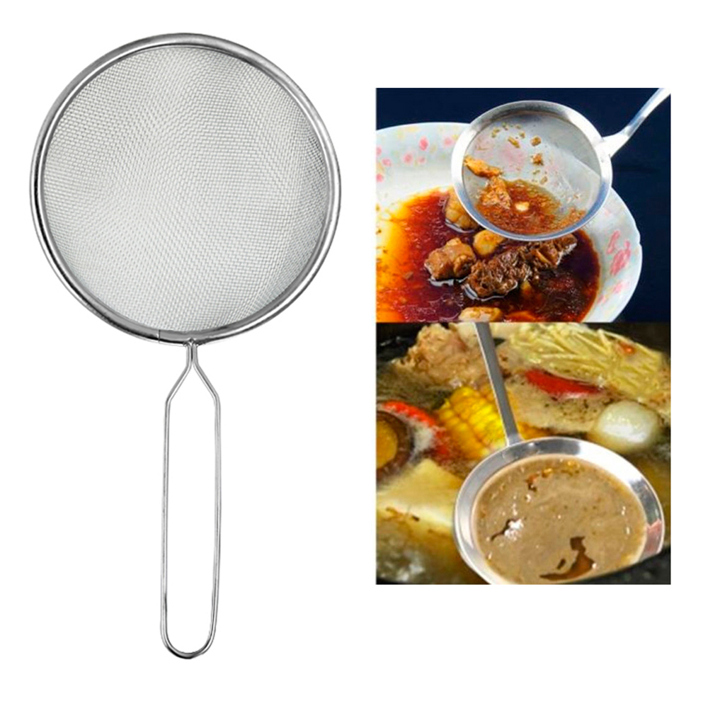Mesh Stainless Steel Colander Strainer Oil Sieve Flour Sifter Tea Tool Handle !!