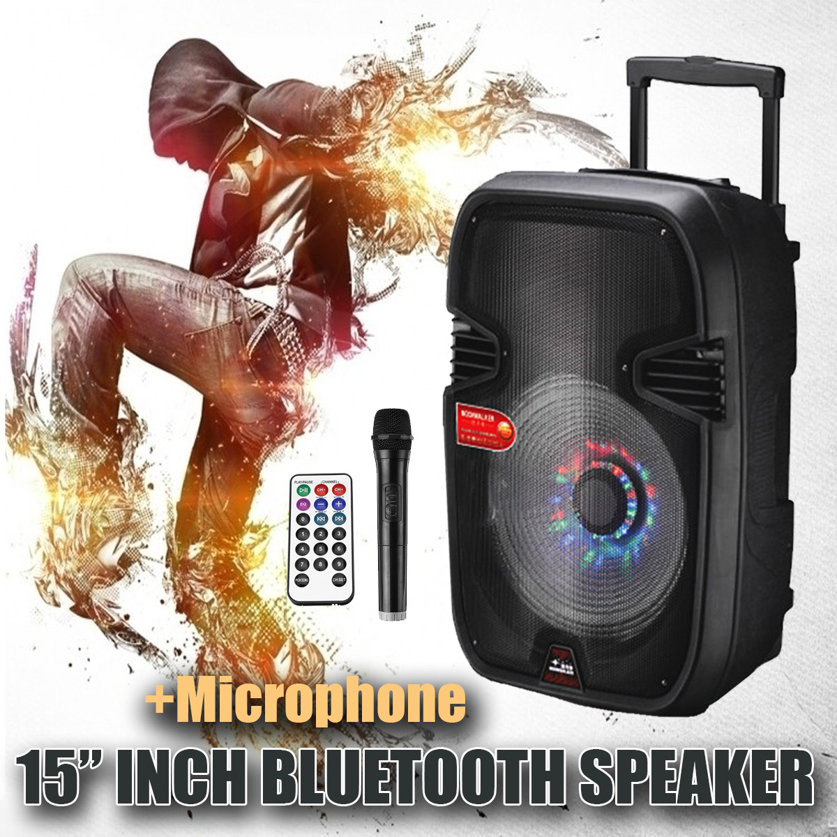 15'' BLUETOOTH Portable Karaoke Party PA DJ Speakers System w  Lights & Mic by