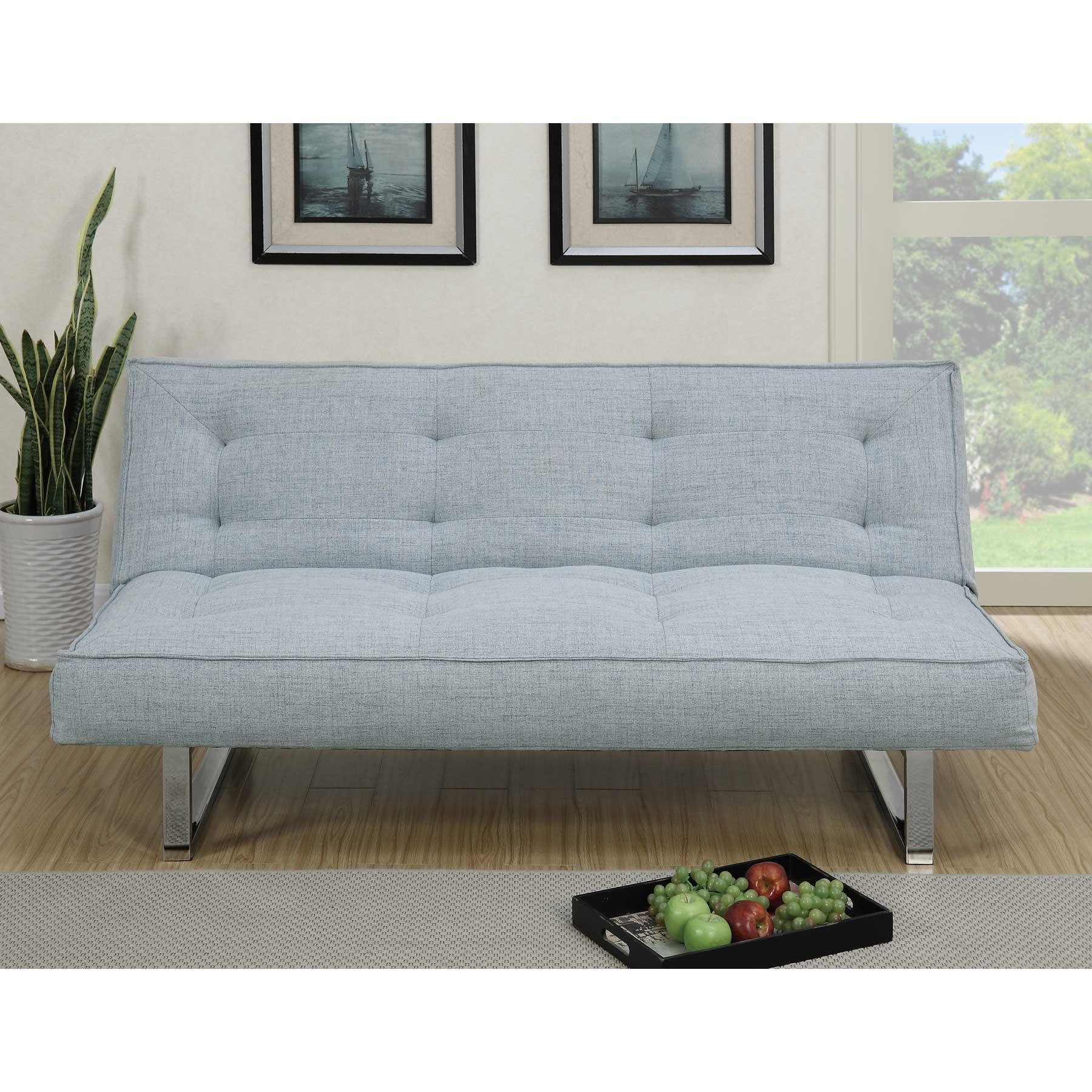Poundex Light Grey Linon Fabric Adjustable Sofa Bed Futon