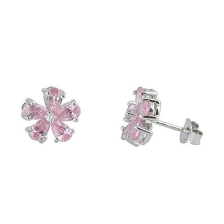 Pink Prong Set Cubic Zirconia Flower Stud Earrings Sterling Silver