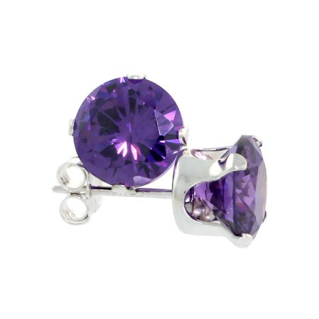 Sterling Silver Cubic Zirconia Amethyst Earrings Studs 7 Mm Purple Color 2 1 Carat
