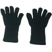 Black Plain Color Medium Length Ribbed Cuff Gloves