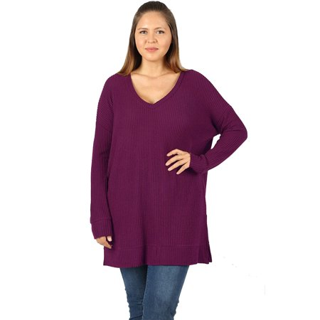 8d7ae293a90 JED FASHION - JED FASHION Women s Plus Size V-Neck Brushed Waffle Knit  Thermal Tunic Top - Walmart.com