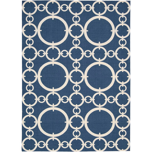 Nourison Waverly Sun N' Shade Polyester Indoor/Outdoor Rug, Navy
