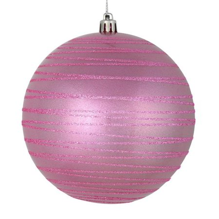 Vickerman N187779D 4.75 in. Pink Candy Ball Ornament with Glitter Lines, 4 per Bag - Pack of 24 - image 1 of 1