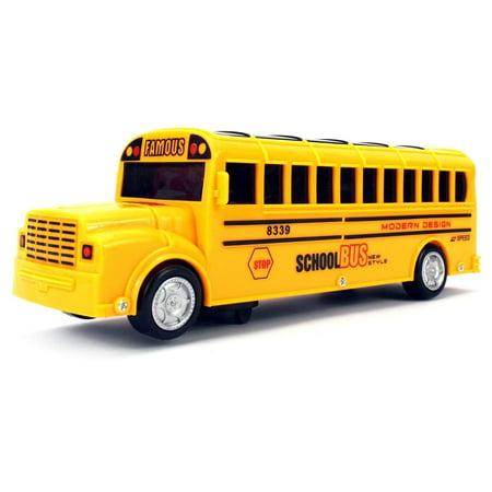 Battery Operated Bump & Go, Toy School Bus w/ Fun Sounds, Flashing Lights, Music School - Go Go Bus Handles