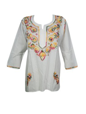 b8502f2638a8 Product Image Mogul Womens Tunic Top Handmade Paisley Embroidered Elegant  Style Top Blouse XS