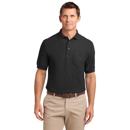 Port Authority® Silk Touch™ Polo With Pocket.  K500p Black Xs - image 1 of 1