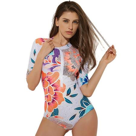 US Sexy Women One Piece Zip Swimsuit Swimwear Ladies Girls Beachwear Surfing Swimming Costumes Bathing Suit Push Up Bra Padded Zipper Short Sleeve Floral Print S-XL - Girl Smurf