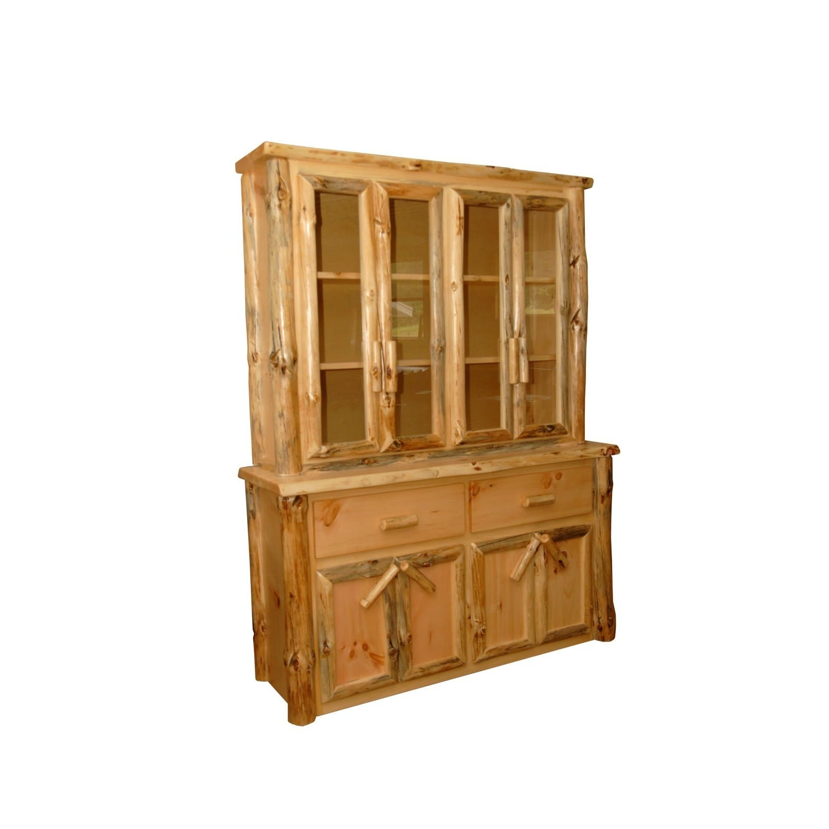 Kunkle Holdings LLC Rustic Pine Log Buffet and Hutch   China Cabinet by Overstock