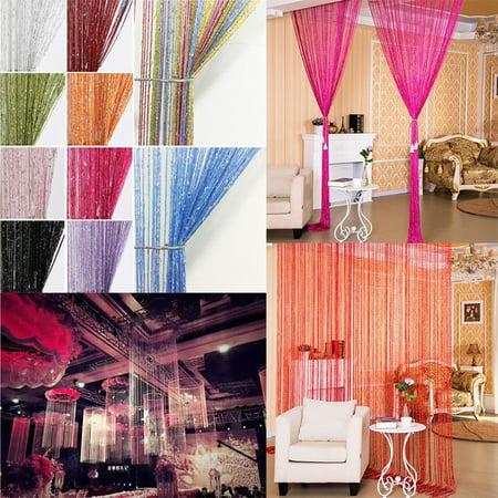 Sparkling Flat Silver Ribbon Tassel Screen Divider String Curtains, Doorway FringeWindow Panel Strip Curtain Room Divider Fly Screen Decor, 1x2M, Multi-Color (Flat Leg Divider)