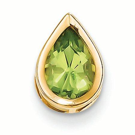 Gold Pear Charm (14K Yellow Gold 9x6 MM Pear Peridot Solitaire Bezel Charm Pendant)