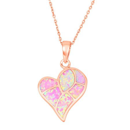 Sterling Silver Rose Gold Heart Shaped Pink Opal Stone Mosaic Style 16+3'' Necklace ()