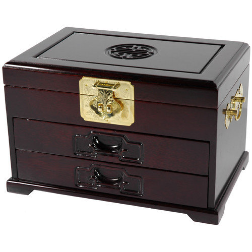 Oriental Furniture Rosewood Oriental Two Drawer Jewelry Box