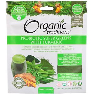 Organic Traditions, Probiotic Super Greens with Turmeric, 3.5 oz (100 g) (Pack of 3) ()