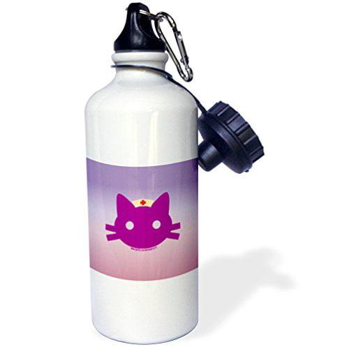 3dRose wb_11925_1 Nurse Kitty Sports Water Bottle, 21 oz, White - image 1 de 1