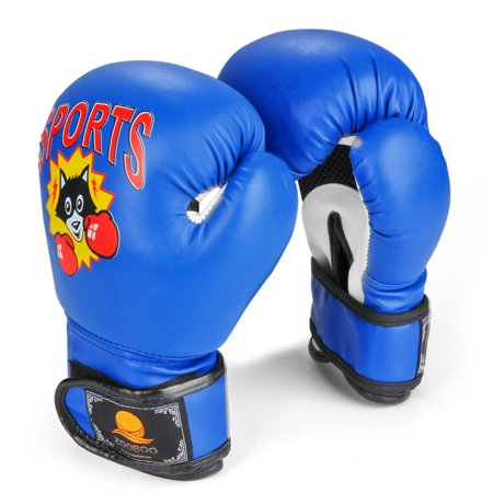 Kids Youth Boxing Gloves 6 oz - Junior Mitts Children Punching Training Exercising Grappling Sparring Fighting Kickboxing Muay Thai Bag Equipment Pair for Age 5-10 Years (Blue) - Toddler Boxing Gloves