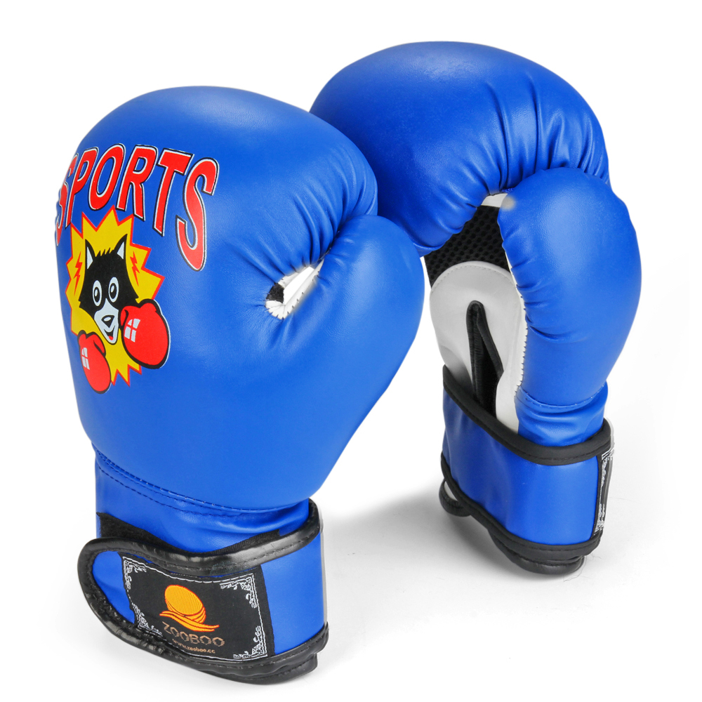Kids Youth Boxing Gloves 6 oz - Junior Mitts Children Punching Training Exercising Grappling Sparring Fighting Kickboxing Muay Thai Bag Equipment Pair for Age 5-10 Years (Blue)