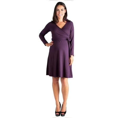 Chic V-Neck Long Sleeve Maternity Wrap Dress