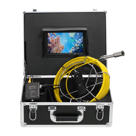 "Lixada 20M Drain Pipe Sewer Inspection Camera IP68 Waterproof Industrial Endoscope Borescope Inspection System Snake Camera 7"" LCD Monitor 12 LEDs Night Vision"