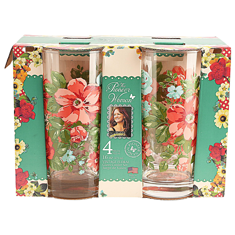 The Pioneer Woman Vintage Floral Glass Cooler Set 4 Pack Walmart Com Walmart Com