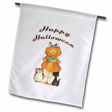3dRose Vintage Halloween Cute Little Jack O Lantern Girl with a Black Cat and an Owl - Garden Flag, 12 by 18-inch