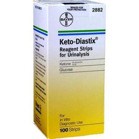 Bayer Ketostix Dip and Read Test Strips Box of 100 (Pack of 2)