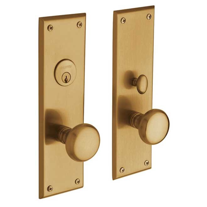 Baldwin  6552.ENTR  Keyed Entry  Baltimore  Mortise Lock  Single Cylinder  ;Lacquered Vintage Brass