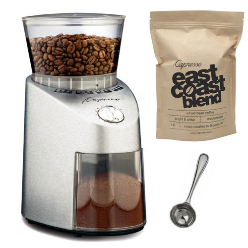 Capresso 565.05 Infinity Stainless Steel Conical Burr Grinder With Deluxe Bundle