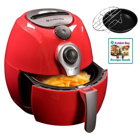 Air Fryer By Avalon Bay  For Healthy Oil Less Fried Food  3 7 Quart Capacity  Includes Free Airfryer Baking Set And Recipe Book  Red  Ab Airfryer100r