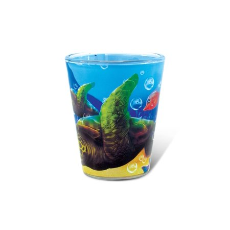 Halloween Themed Shots Drinks (Puzzled Sea Turtle Full Print Underwater Shot Glass 1.70 Oz Quality Glassware for Bar Collection Novelty Liquor / Spirits Drinking Glass - Marine Life Beach Animal Nautical)