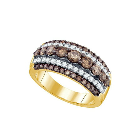 Diamond Ladies Cocktail Ring - 10kt Yellow Gold Womens Round Cognac-brown Colored Diamond Striped Cocktail Ring 1-1/2 Cttw