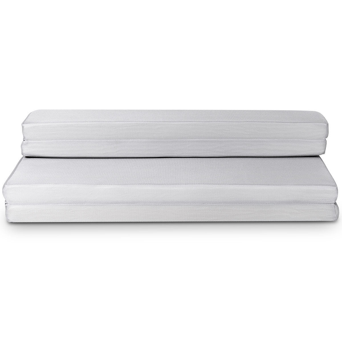 Gymax 4'' Queen Size Foam Folding Mattress Sofa Bed Guests Floor Mat Carrying Handles - image 9 de 10