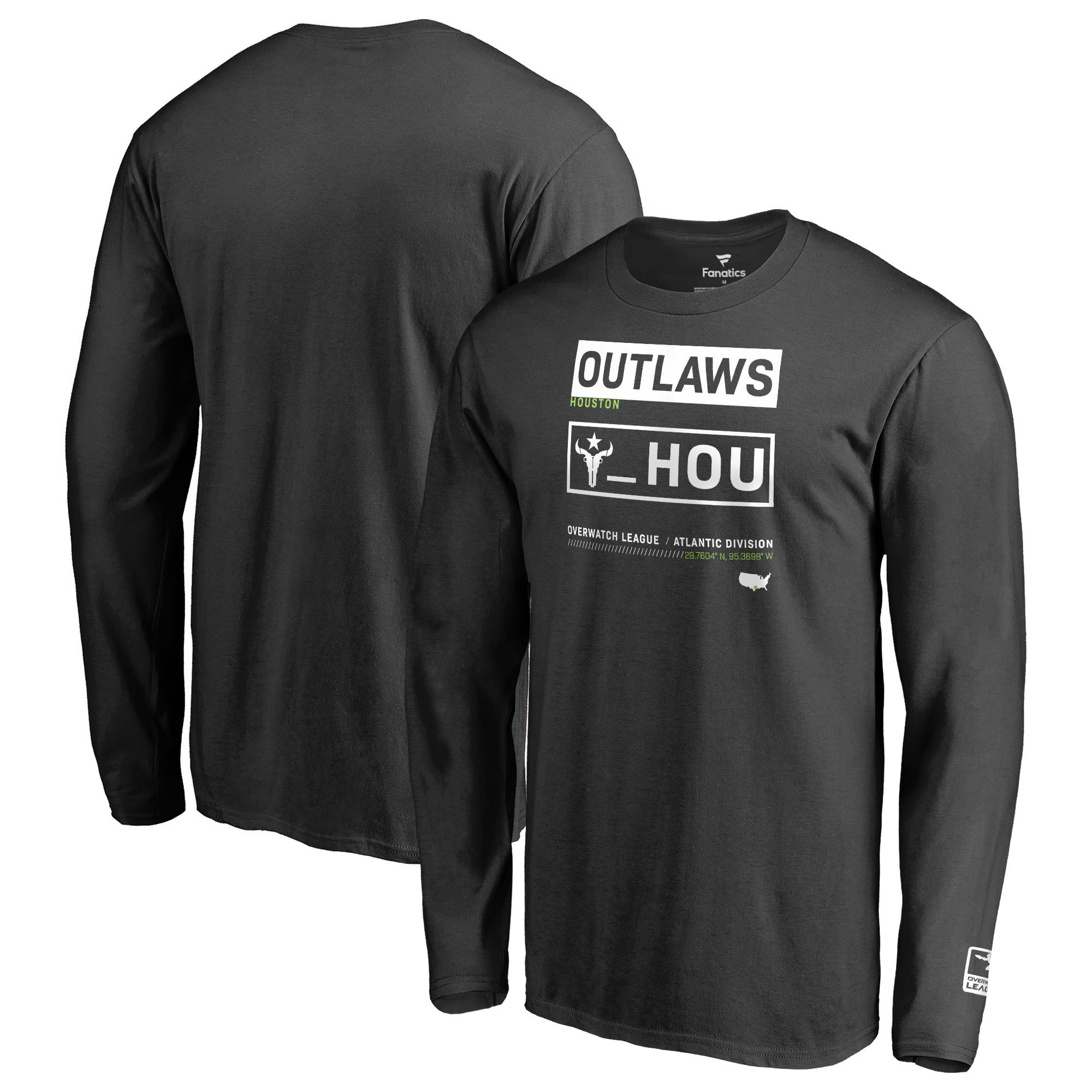 Houston Outlaws Fanatics Branded Overwatch League Double Down Long Sleeve T-Shirt - Black