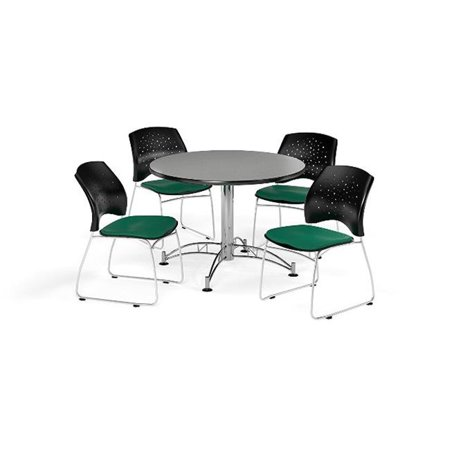 Ofm Pkg Brk 168 0017 Breakroom Package Featuring 42 In  Round Multi Purpose Table With Four Stars Stack Chairs