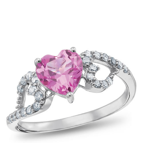 Sterling Silver, Lab-Created Pink Sapphire and Diamond Ring by