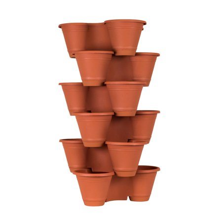 6 Tier Stackable Vertical Plastic Planter Mini Garden Herb Planter Indoor/Outdoor Use ()