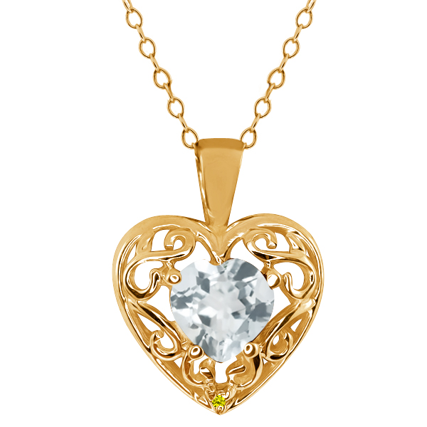 0.68 Ct Sky Blue Aquamarine Canary Diamond Gold Plated Silver Pendant