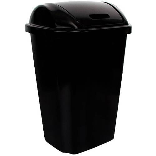 hefty swing lid 13 5 gallon trash can black walmart