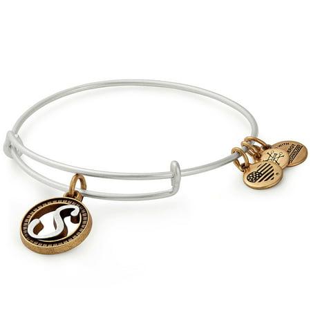 Alex and Ani Initial S Two-Tone Charm Bangle Bracelet - Rafaelian Gold and Silver Finish - A18EBINT19TTRS ()