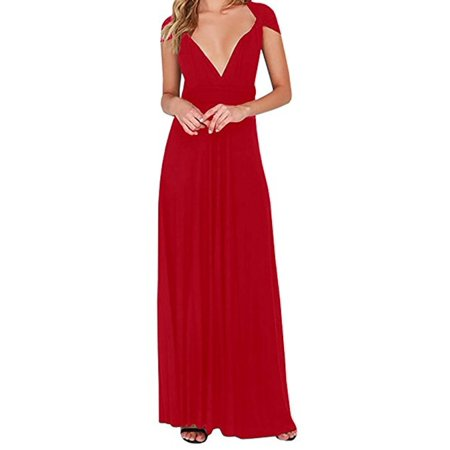 Party Wear Dresses (Multi-way Wear Deep V-neck Women Sexy Sleeveless Party Maxi)