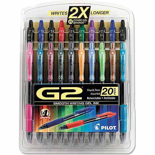 Pilot G2 Retractable Gel Ink Pen, 0.7mm, Assorted Ink, 20pk