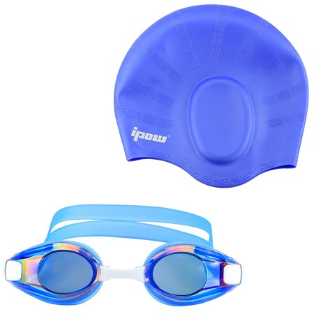 Swimming Goggles + Cap, IPOW Anti-Fog Swim Goggles Glasses Silicone Waterproof Swimming Cap Hat Goggle and Swim Cap for Adults Women Long Hair Men Kids Girls Boys Youths Swimmers, (Goggles For Open Water Swimming)