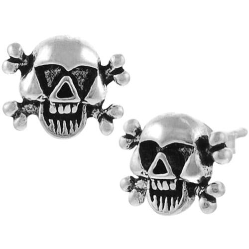 Brinley Co. Sterling Silver Skull and Bones Stud Earrings